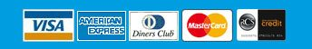 Visa Card, American Express Card, Diners Club Card, Master Card and RCS Store Card