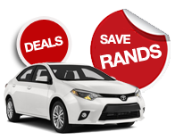 Car Rental Specials from as little as R260.00 per day. Car Hire with Cash, Debit Card or EFT